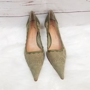 New GIUSEPPE ZANOTTI Green Point Toe Kitten Heels